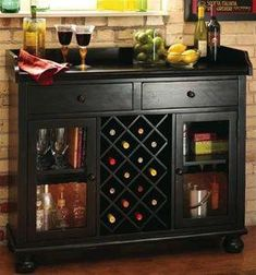 Howard Miller Cabernet Hills Wine Bar Wine Furniture at Hayneedle Wine Bar Cabinet, Wine Cabinets, Wine Hutch, Wine Buffet, Buffet Server, Wooden Rack, Wood Wine Racks, Wine Furniture, Furniture Design