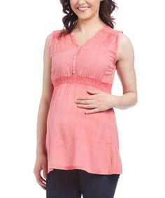 Love this Pink Maternity Button-Front Tank on #zulily! #zulilyfinds