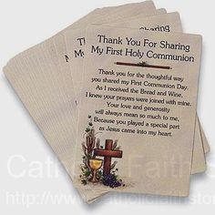Thank You First Communion Prayer Cards : This is such a good idea & it would mean so much to the Catholics who come to my Sons First Communion.  Glad I found this!!!  Of course it is a year early but I am sure it still won't be soon enough!