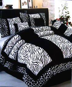Black White Zebra Giraffe Velvet Comforter Set Queen