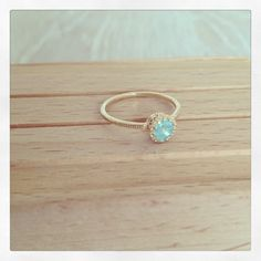Turquoise Crystal Ring, Simple Gold Ring, Dainty, Gold filled Ring, Everyday Gold Ring, Victorian, Black , Pink, Czech White Crystal on Etsy, $33.90