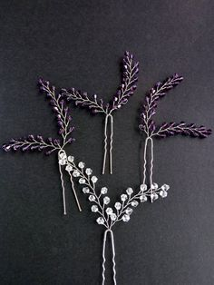 Hairpin lavender Hairpin set of 4 Crystals hair pins Bridal pins Wedding hair pins Set hairpins Silver hairpin Hair Set bridal hair pin  These hairpins are ideal for weddings in Boho, Rustic and Provence styles, for an evening out and every day using  The pins fit comfortably in hair,