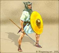 Polybian veles. Velites were unarmored skirmishers in advance of the front line hastati. The youngest and poorest men, velites were minimally equipped with a few hastae velitares (light javelins designed with tips that bent upon impact to prevent reuse by the enemy), gladii, and occasionally small round shields. (275-105 BC)
