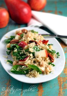 Quinoa Salad with Pears, Baby Spinach and Chick Peas in a Maple Vinaigrette from the wonderful Gluten Free Goddess.