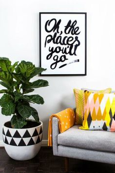 pattern + color + Fiddle Leaf tree | Must have happy trees!!