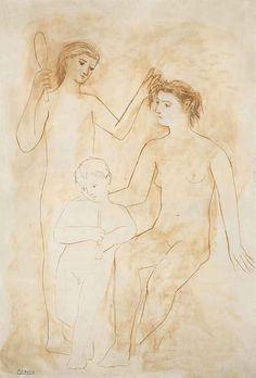 Pablo Picasso (1881-1973) Deux femmes et enfant