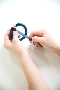diy: Velvet Wrapped Rope Bracelet