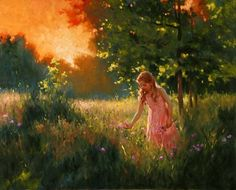 Hand-painted Figure Oil Painting - Girl in the garden