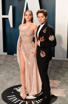 Barbara Palvin and Dylan Sprouse attending the Vanity Fair Oscar Party held at the Wallis Annenberg Center for the Performing Arts in Beverly Hills, Los Angeles, California, USA. (Photo by Ian West/PA Images via Getty Images) Cute Celebrity Couples, Cute Couples, Celebrity Style, Celebrity Babies, Dylan Sprouse, Barbara Palvin, Cute Celebrities, Celebs, Dylan And Cole