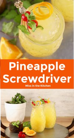 Pineapple Screwdriver cocktails are super simple to make! Easy to mix up by the glass or the pitcher with pineapple juice, orange juice and vodka. Great for get togethers with friends, game day gatherings or your next cocktail party. Vodka And Pineapple Juice, Pineapple Cocktail, Pineapple Lemonade, Kiwi Juice, Pineapple Drinks, Frozen Cocktails, Easy Cocktails, Cocktail Drinks, Alcoholic Drinks