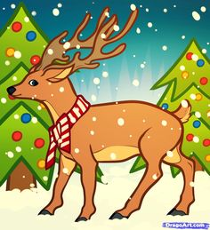 how to draw a christmas deer