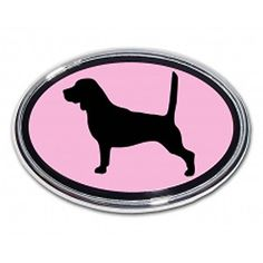Beagle Dog PINK Emblem Home Family Children Pet oval Real metal Chrome auto