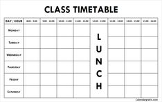Free blank printable class schedule template for preschool kids, middile school, college students. Get weekly class timetable hourly planner for teachers. School Schedule Printable, Class Schedule Template, Weekly Planner Printable, Planner Template, Weekly Calendar, Calendar Ideas, Study Timetable Template, Timetable Planner, Class Timetable
