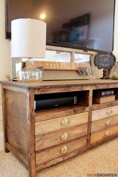 DIY Printmakers Media Console | Free Plans | Rogue Engineer   #DIY #livingroom #freeplans