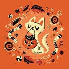 Retro Halloween Illustration featuring Cat, Pumpkin and Candy! Retro Halloween, Halloween Mignon, Halloween Celebration, Cool Halloween Costumes, Halloween Party Decor, Fall Halloween, Halloween Crafts, Happy Halloween, Halloween Makeup