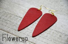 Handmade lightweight red real leather geometric statement earrings by FlowerupDesign on Etsy
