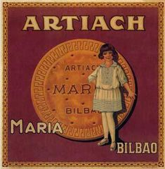 Advertising of biscuits, elaborate by Artiach factory in Bilbao, circa Vintage Labels, Vintage Ads, Vintage Images, Vintage Posters, Retro Advertising, Vintage Advertisements, 1920s Ads, Curious Cat, Victorian Art