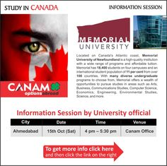 Study in Canada - Memorial University. For complete information & enrolment, Register Here http://www.canamgroup.com/maileruniversity.php?name=memuniamd  #Canada #StudyinCanada #MemorialUniversity #StudentVisaExperts #CanamConsultants
