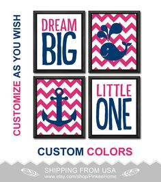pink and navy baby girl nursery nautical dream big quote girl nursery gift ideas chevron anchor whale playroom nautical baby gifts toddler by PinkeeHome