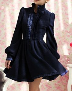 wow! Gorgeous navy coat for swing dresses. It's actually wool in it as well, means it could be used at winter-time!