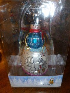 NIB Jim Shore Glass Ornament - Snowman - Dashaway - Holiday Living - 2012  - http://collectiblefigurines.net/jim-shore/christmas/nib-jim-shore-glass-ornament-snowman-dashaway-holiday-living-2012/