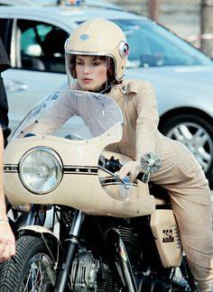 Kiera Knightly on a Ducati