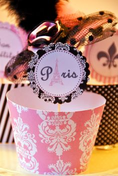 PARIS Theme Party cupcake wrappers and 2 inch circle tags