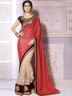 Fabulous Red And Beige Georgette Designer Saree
