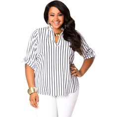2bf7f9a629723 Ashley Stewart Striped Pullover Blouse ( 28) ❤ liked on Polyvore  Fashionable Plus Size Clothing