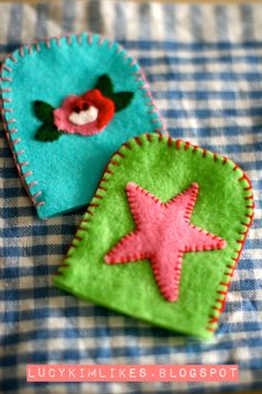 Cath Kidston Egg Cosies - felt appliqué and blanket stitch. Makes boiled eggs extra cute!