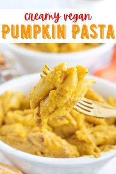 Creamy and flavorful vegan pumpkin pasta with hints of sage and thyme. So easy to make and the best comfort food ever! #veganpasta #veganpumpkinpasta #pumpkinpasta #veganfallrecipes Autumn Recipes Vegetarian, Vegetarian Kids, Savory Pumpkin Recipes, Vegetarian Dinners, Vegan Dinner Recipes, Delicious Vegan Recipes, Raw Food Recipes, Vegetable Recipes, Fall Recipes