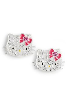 4888ca8b1c90 Crystal Stud Earrings HELLO KITTY®. Kitty White brings the bling on these  gleaming and