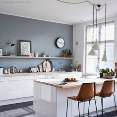 Kitchen Wall Colors With White Cabinets. This best picture selections about Kitchen Wall Colors With White Cabinets is available to save. Kitchen Colors, Blue Kitchen Walls, Kitchen Remodel, Modern Kitchen, Kitchen Wall Colors, Kitchen Remodel Small, Home Kitchens, Grey Kitchen Walls, Kitchen Design