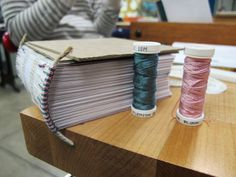 Silk thread was used to create traditional sewn endbands Handmade Books, Inspirational Books, Book Binding, Silk Thread, Book Making, Junk Journal, Wicca, Altered Art, Headbands