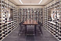 Modern wine tasting room by Marsha Russel of Satinwood Interiors