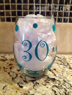 30th Birthday Stemless Wine Glass