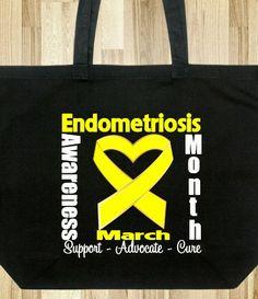 Endometriosis Awareness Month Heart Ribbon Tote Bag #endometriosis #endometriosisawareness #endometriosisawarenessmonth