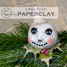 Creative Paperclay®️️ air dry modeling material: Winter Skeleton Snowball Snowman by Rachel Whetzel