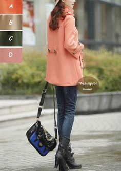 Stand-up collar Pink wool coat