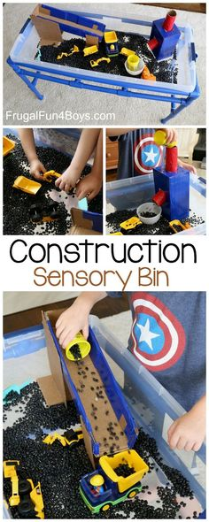 Construction Truck Sensory Bin - Fun homemade toy idea. Use cardboard boxes to make ramps for scooping and pouring.