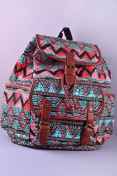 bdcd32129ffd Tribal and Leather Backpack from Gypsy Outfitters - Boho Luxe Boutique Luxe  Boutique