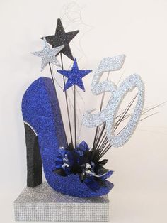 Fabulous 50th birthday celebration with our custom high heel shoe and shoe boot Styrofoam cutouts. Everything was coordinated to fit this birthday girl's theme.