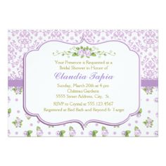 Shabby Chic, Lavender Bridal Shower Invitations