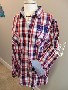 Monogram Plaid Cotton Button Down Oxford Shirt by finethreadart. Great for the 4th of July and Memorial Day! A perfect summer plaid.