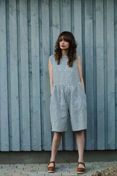 Black ant White Midi Length Jumpsuit - Linen Jumpsuit - Striped Linen Jumpsuit