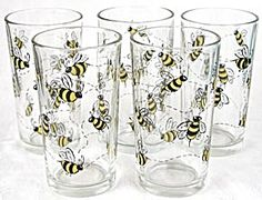 bumble bee kitchen | Bumble Bee Drinking Glasses Set of 5 (Drinking Glasses) at Silversnow ...