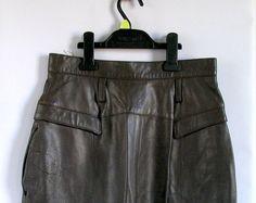 Vintage 1990s Green Olive Leather Pencil Skirt / Size by vintachi, $27.00