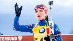 Česká biatlonistka Gabriela Soukalová před startem stíhací závodu žen ve švédském Östersundu.