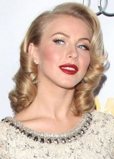 Safe Haven actress Julianne Hough looks divine with her rolled retro curls. This perfectly coiffed, polished 'do is great for formal evenings or a wedding, ...