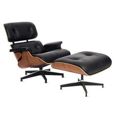 Eames Style Lounge Chair and Ottoman - Walnut & Black Leather – S.ALTERNATIVE FURNITURE Ireland